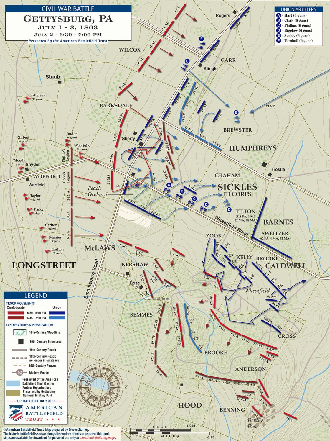 Gettysburg - The Wheatfield and Peach Orchard - July 2, 1863 - 6:30pm to 7pm