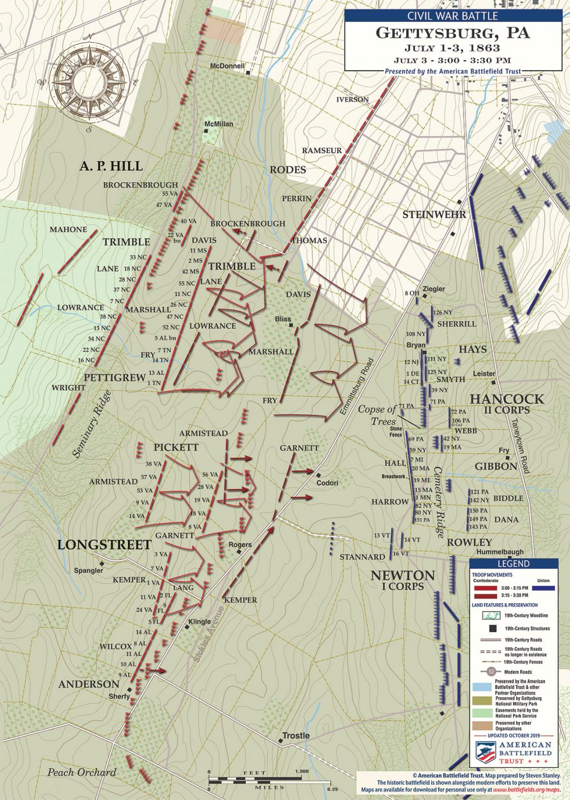 Gettysburg - Pickett's Charge, July 3, 1863 - 3:00 - 3:30PM (October 2019)