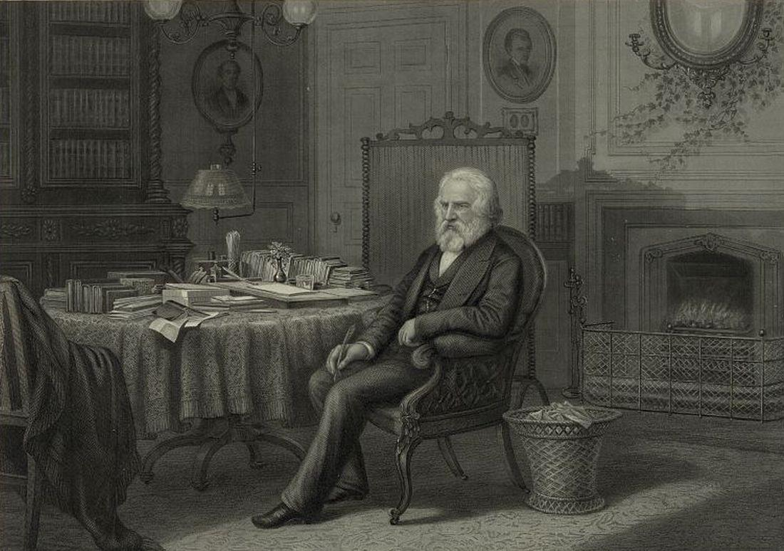 Henry Wadsworth Longfellow in his Study
