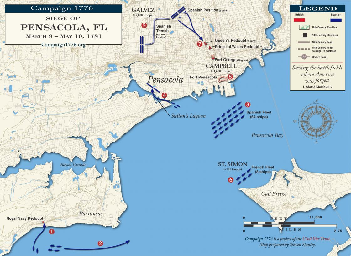 Pensacola March May Civil War Trust - Map of us 1781