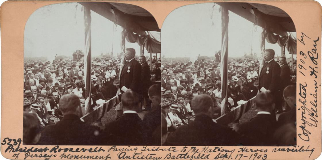President Roosevelt Unveiling Jersey Monument Antietam stereograph