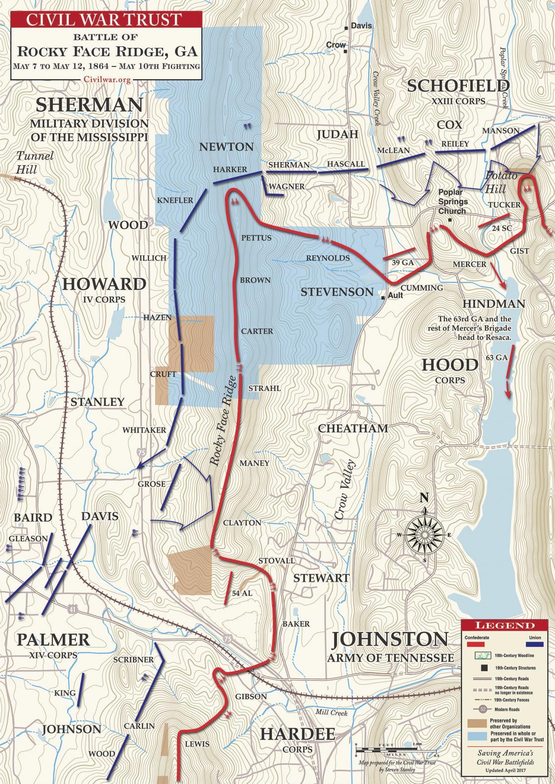 Battle of Rocky Face Ridge - May 10, 1864 | American ... on north carolina earthquake fault line map, ga co map, ga nv map, ga nc map, ga regions map, ga district map, ga tn map, ga elevation map, ga state map, ga fl map, ga interstate map, ga road map, georgia and florida road map, athens ga map, ga al map, ga st map, south carolina map, south ga cities map, ga rivers map, ga ala map,