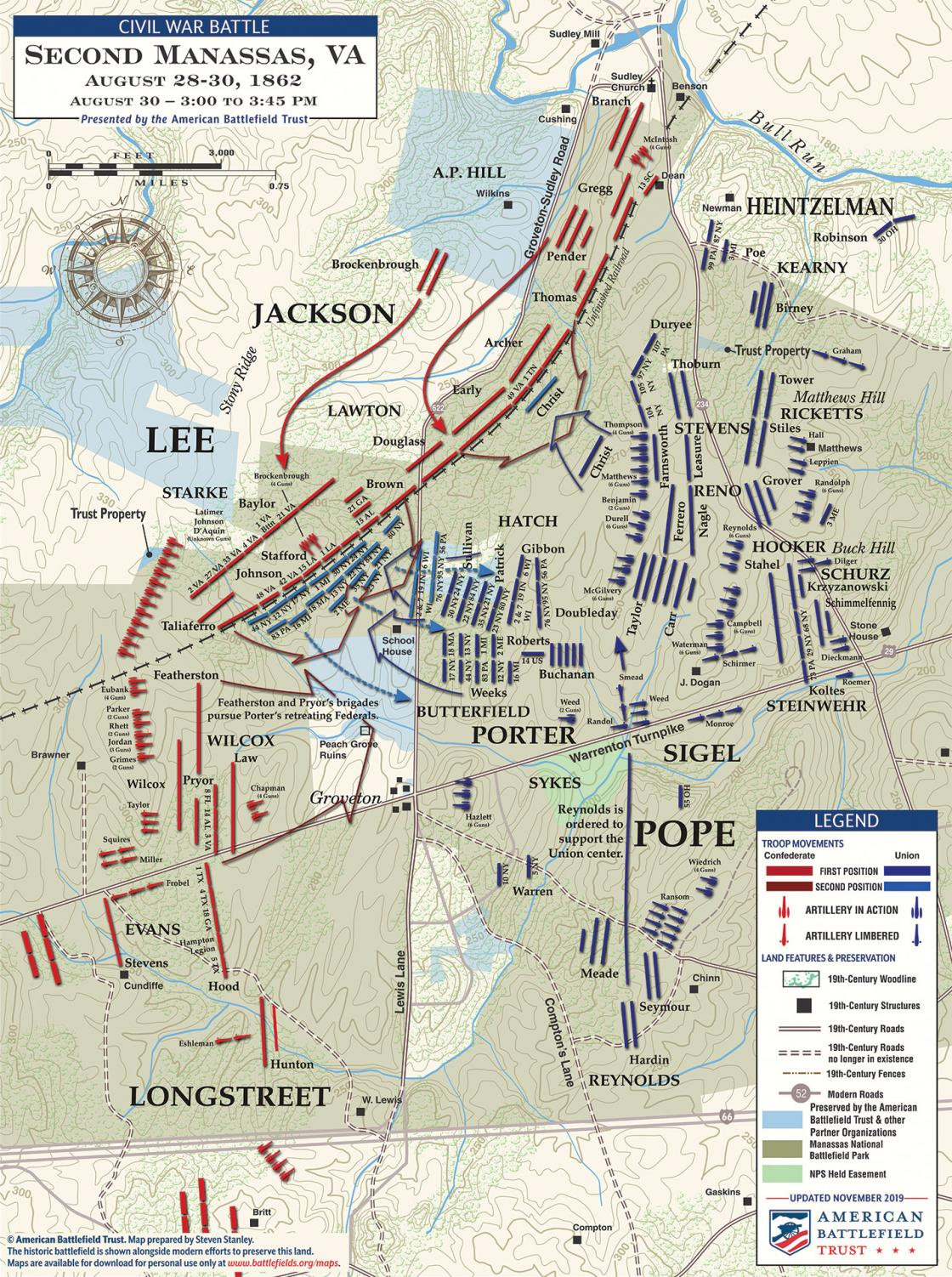 Second Manassas - Porter's Attack - August 30, 1862 - 3pm to 3:45pm (November 2019)