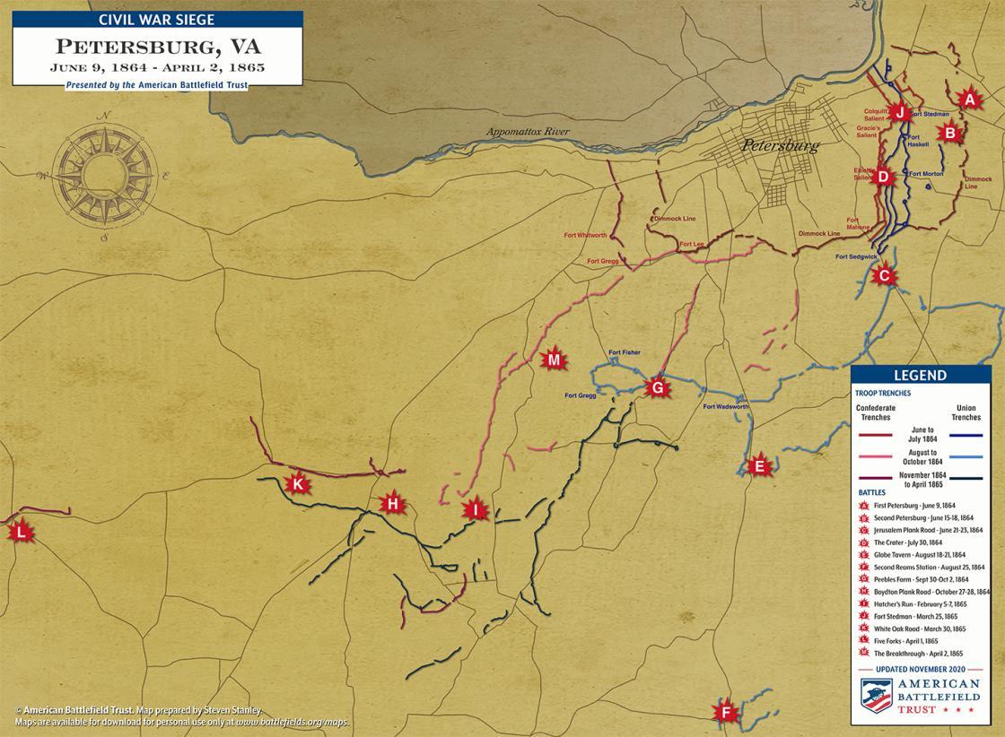 Siege of Petersburg Battle Map
