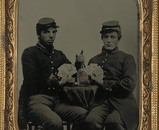 Soldiers with Whiskey and Cards Square