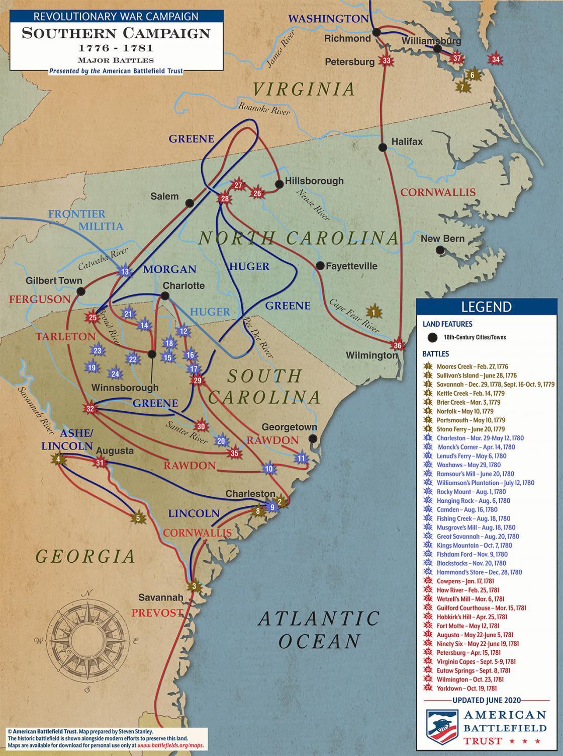 Major Battles of the Southern Campaign - 1776 to 1781 (June 2020)