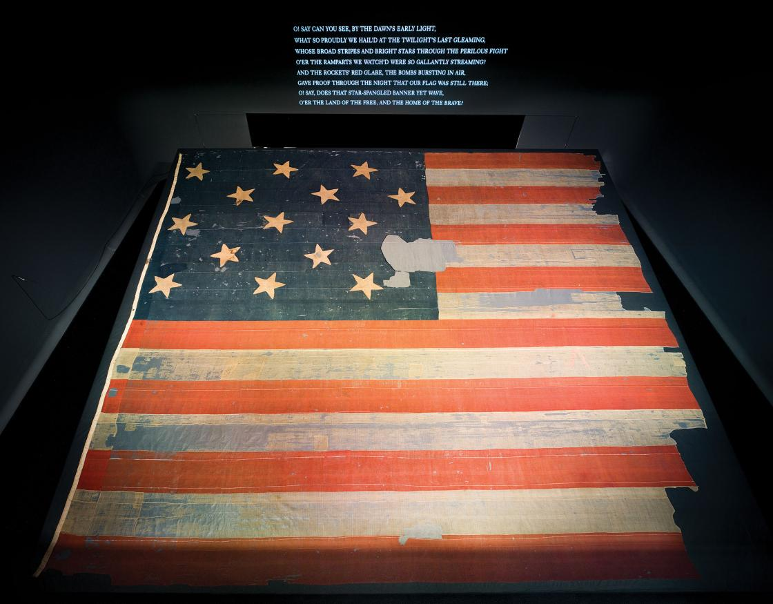 Star-Spangled Banner on display at the National Museum of American History