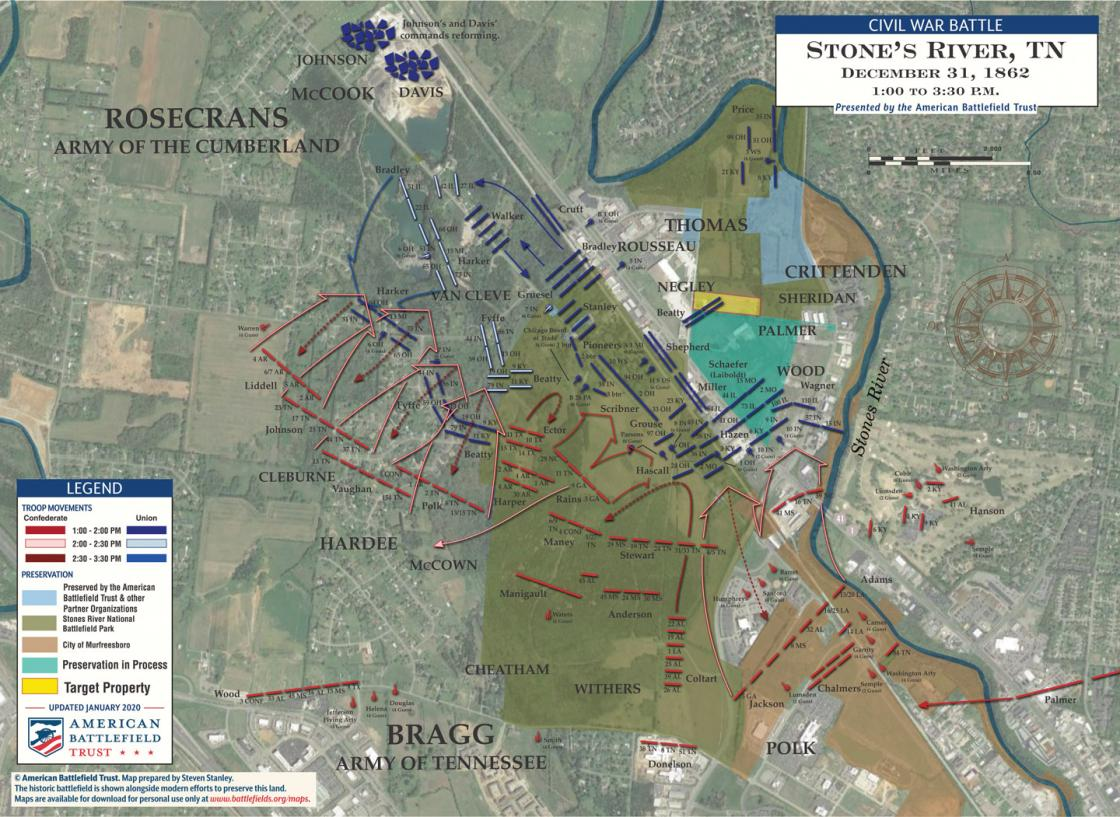 The Battle of Stones River: December 31, 1862 - 1:00-3:30 pm Satellite Map