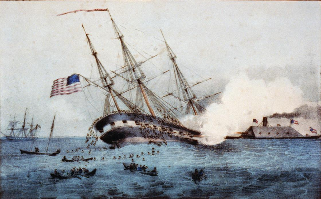 CSS Virginia Sinking the USS Cumberland 700px