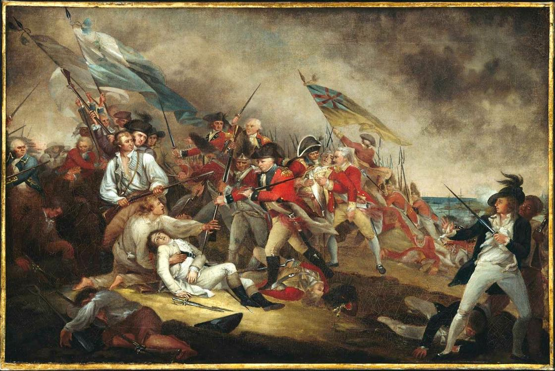 Painting of the Battle of Bunker Hill.