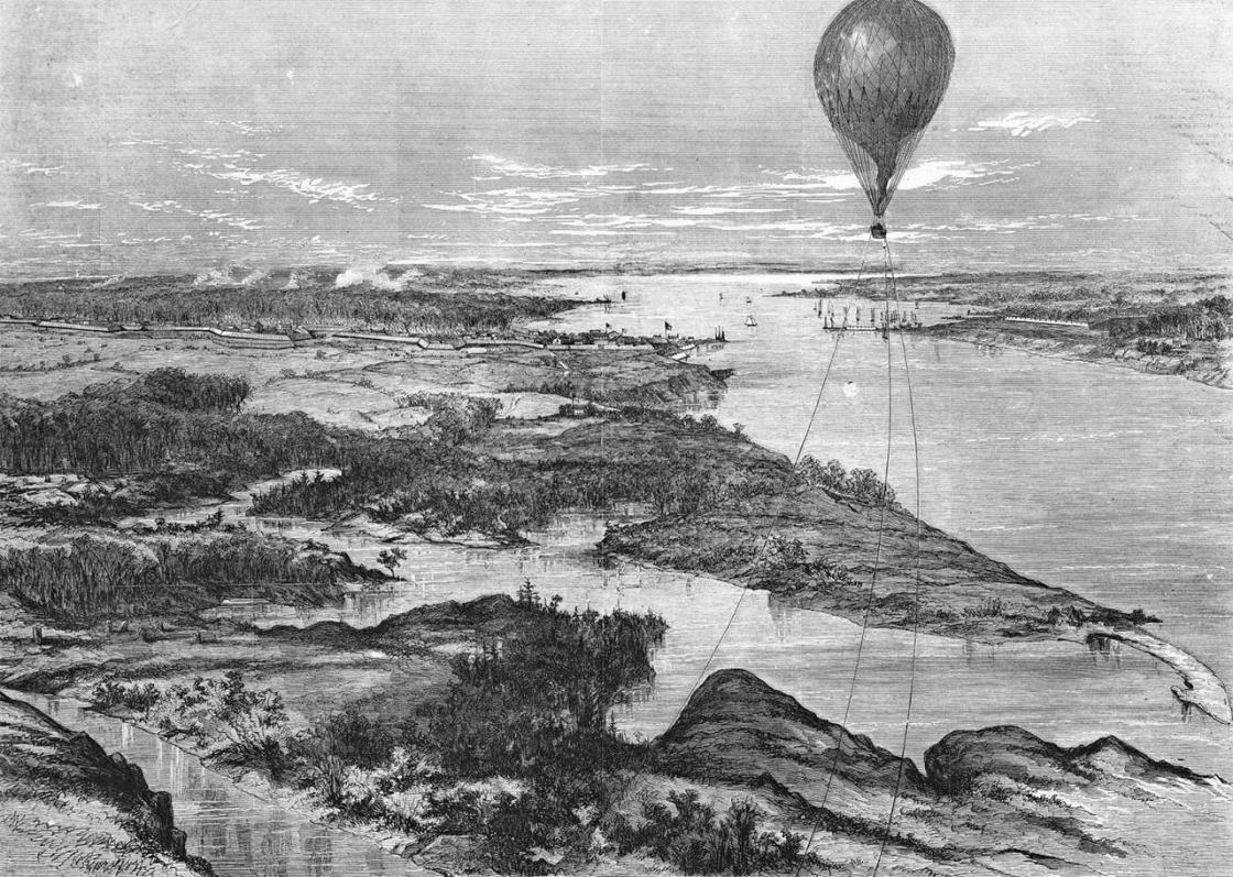 Engraving by A. Lumley, Balloon aloft near Yorktown, Virginia
