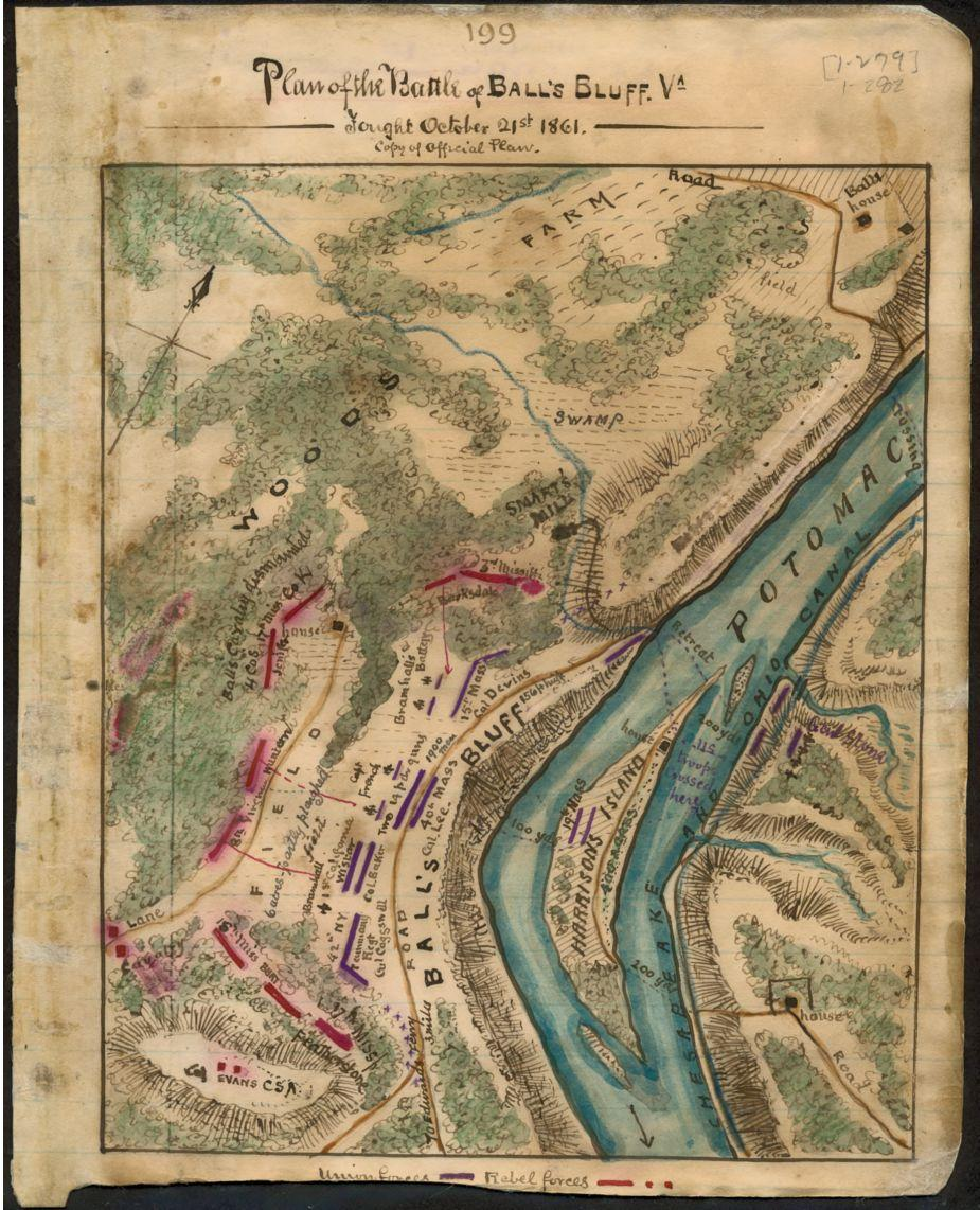 Plan of the Battle of Ball's Bluff Va. Fought October 21st 1861