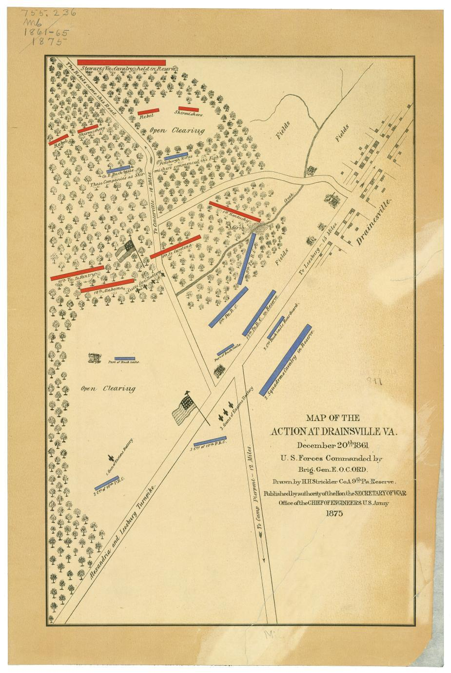 Map of the action at Drainsville, Va., December 20th 1861