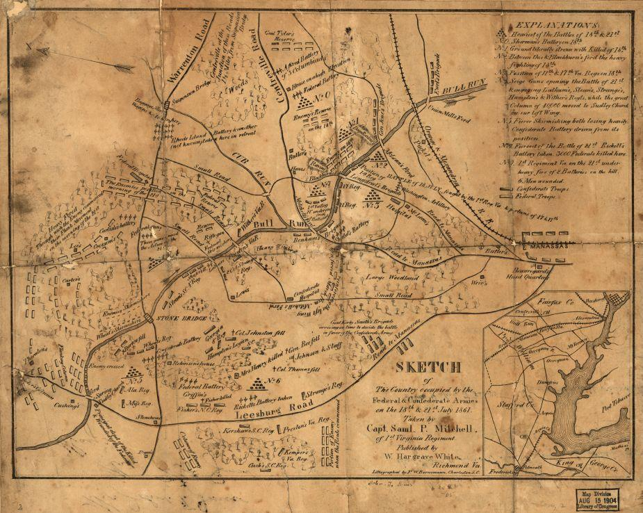 Sketch of the country occupied by the Federal & Confederate Armies on the 18th & 21st July 1861