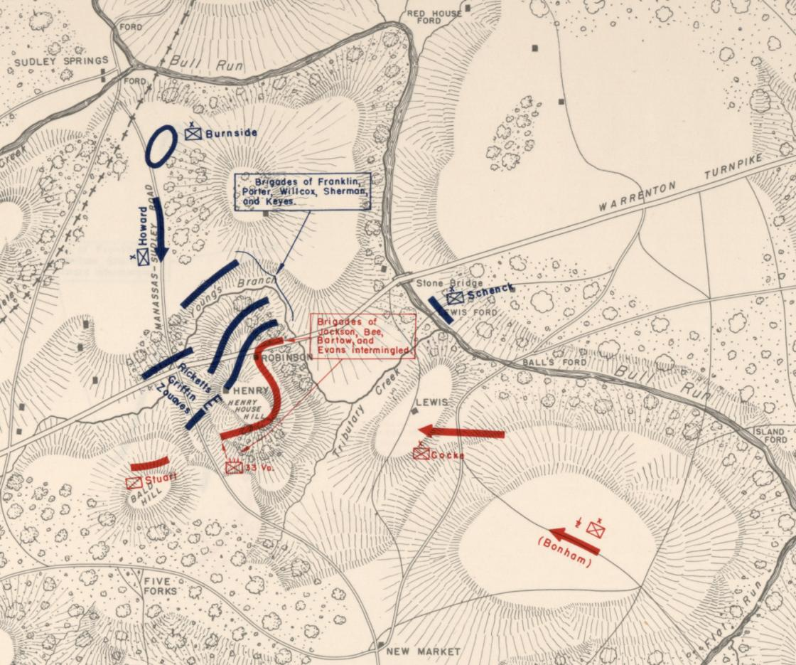 Battle of First Bull Run - 2pm (Detailed View)