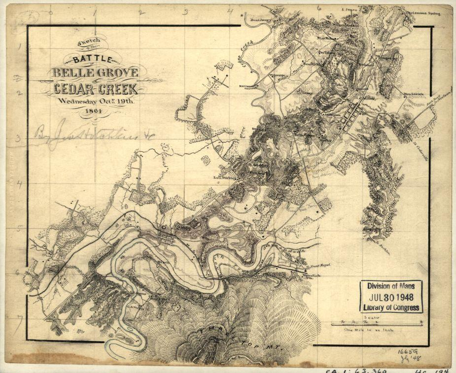 Sketch of the battle of Belle Grove or Cedar Creek