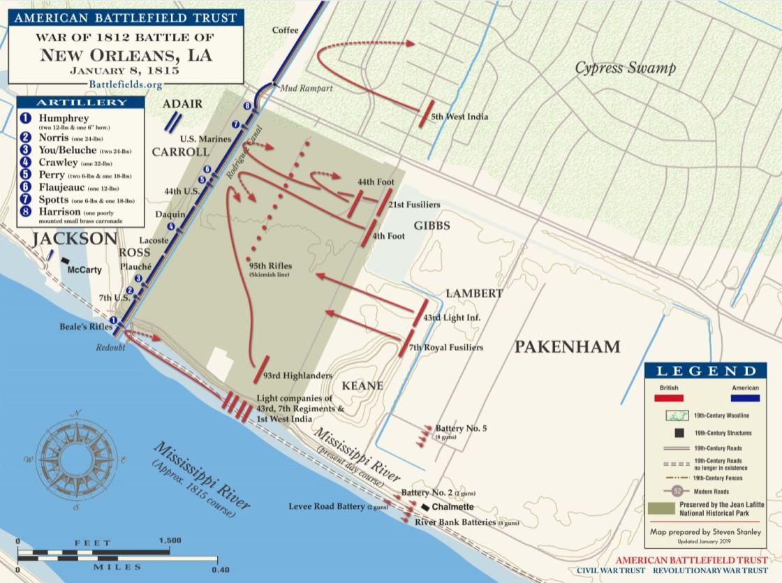 graphic regarding Printable Maps of New Orleans identify Fresh Orleans - January 8, 1815 American Battlefield Have confidence in
