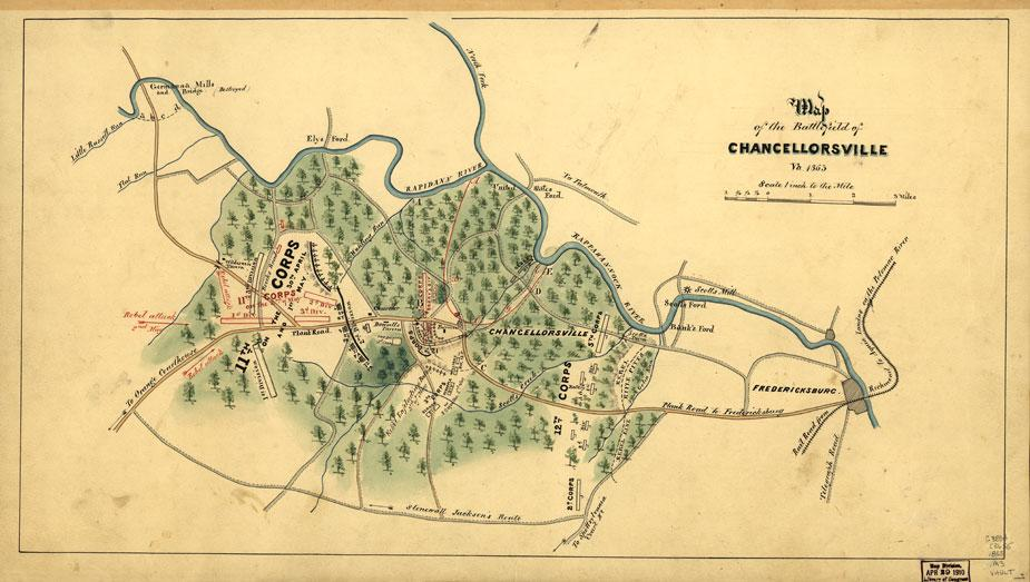 Map of the battlefield at Chancellorsville