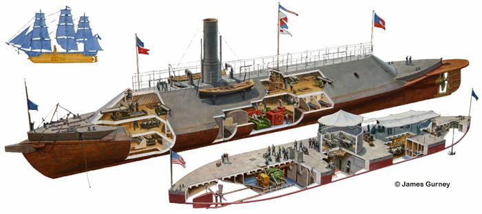 Comparison of the CSS Virginia and USS Monitor 700px