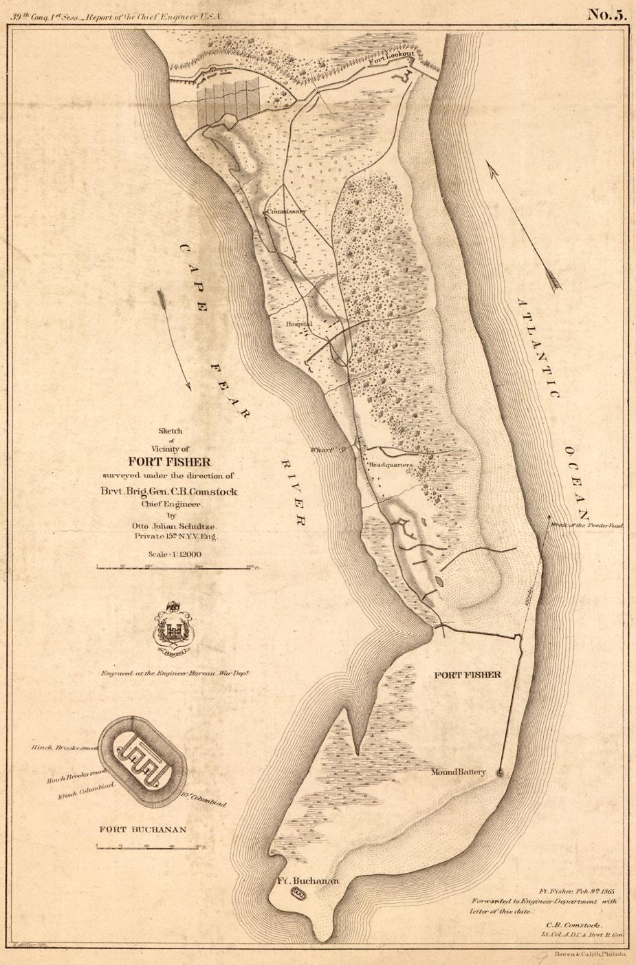 Sketch of vicinity of Fort Fisher