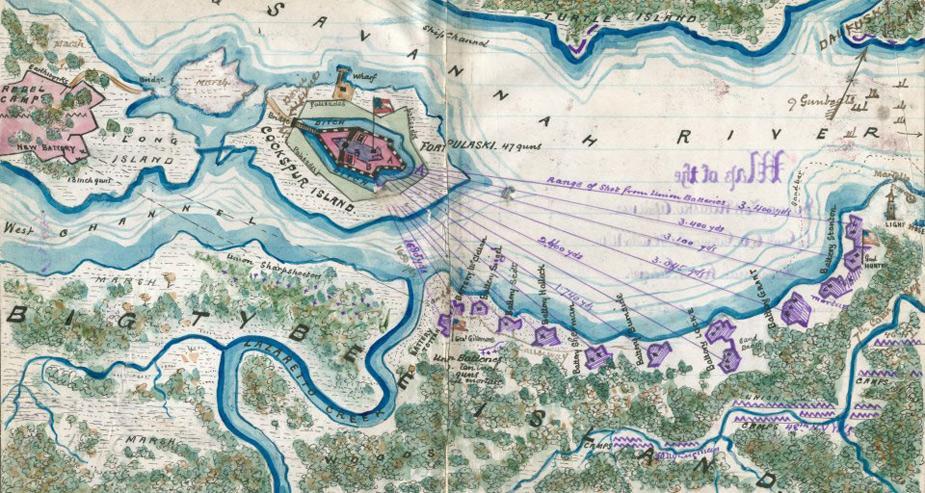 Copy of official plan of the siege of Fort Pulaski. Cockspur Island. Savannah Georgia April 1862
