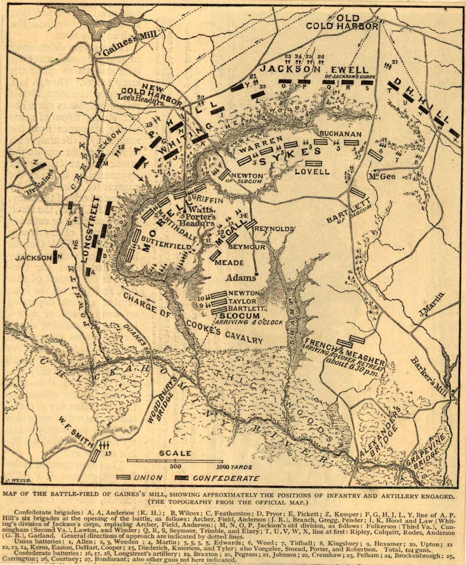 Map of the battlefield of Gaines' Mill, showing approximately the positions of infantry and artillery engaged