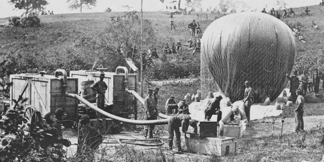 "Portable field gas generators to inflate the ""Intrepid"" at Gaines' Mill"