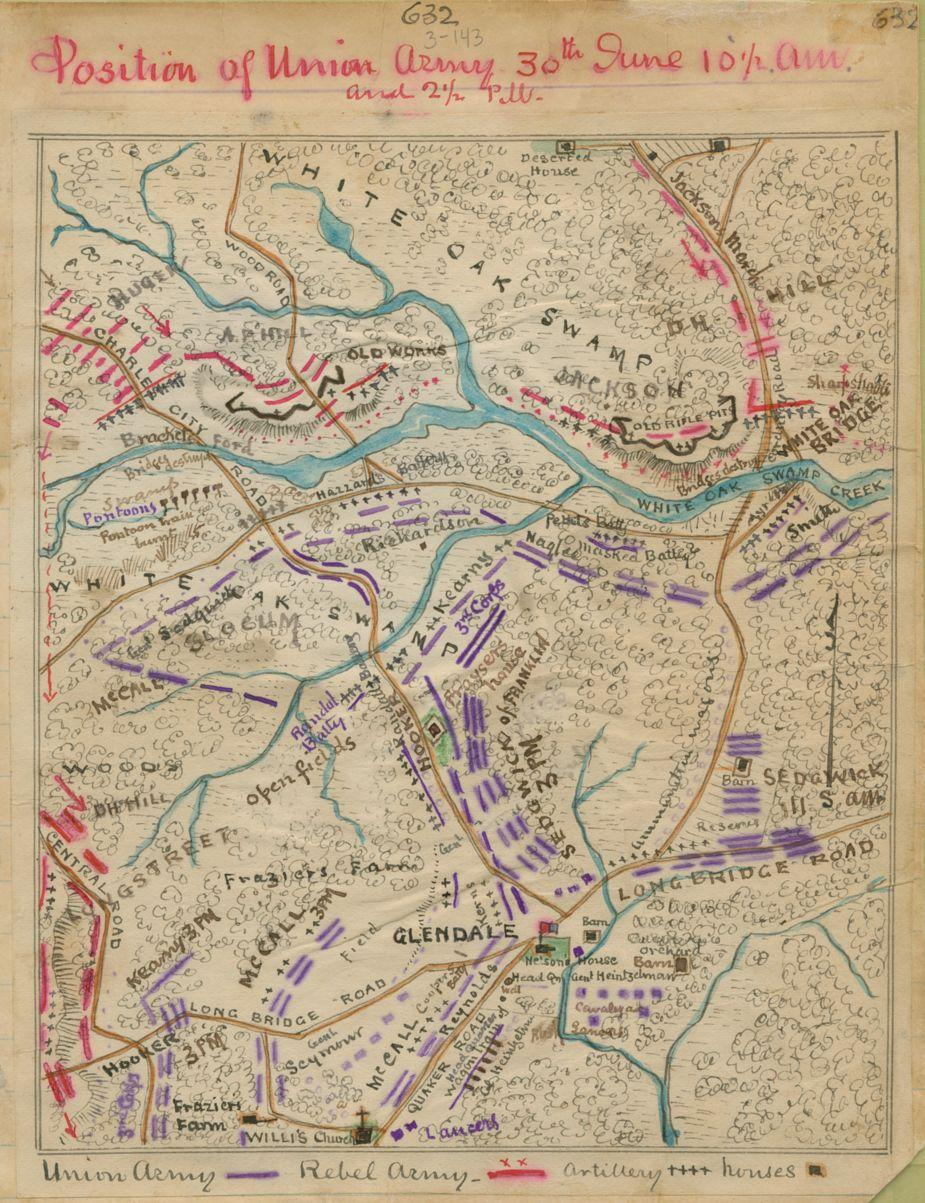 Position of Union Army 30th June 10:30 a.m. and 2:30 p.m.