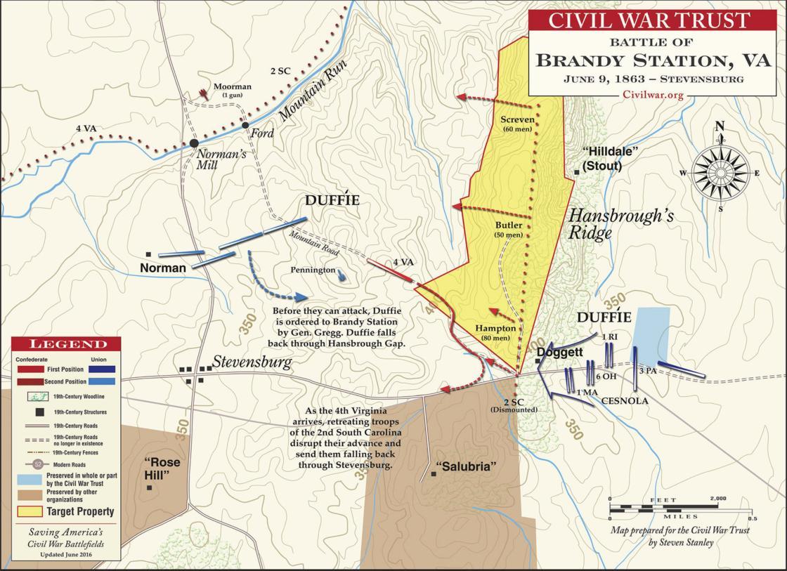 The Battle of Brandy Station - Hansbrough's Ridge - June 9, 1863