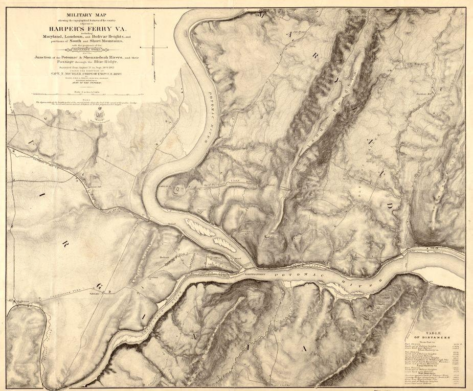 Military map showing the topographical features of the country adjacent to Harpers Ferry, Va
