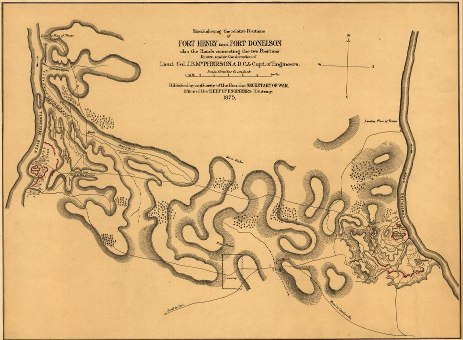 Sketch showing the relative positions of Fort Henry and Fort Donelson