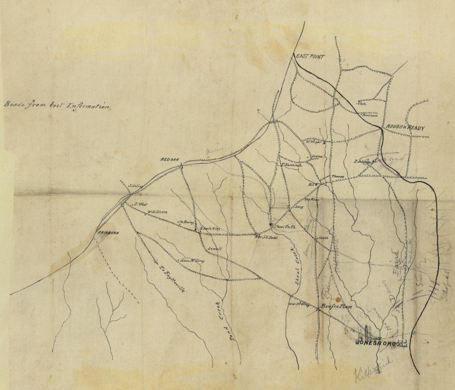 Map of the country northwest of Jonesboro