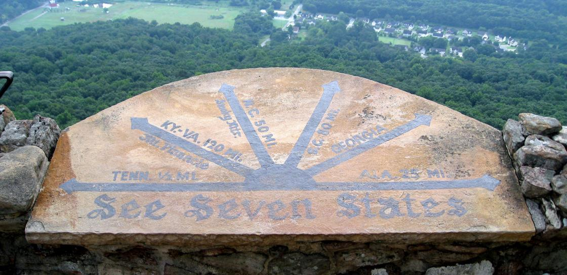 "The ""See Seven States"" marker at Lookout Mountain, Tenn."