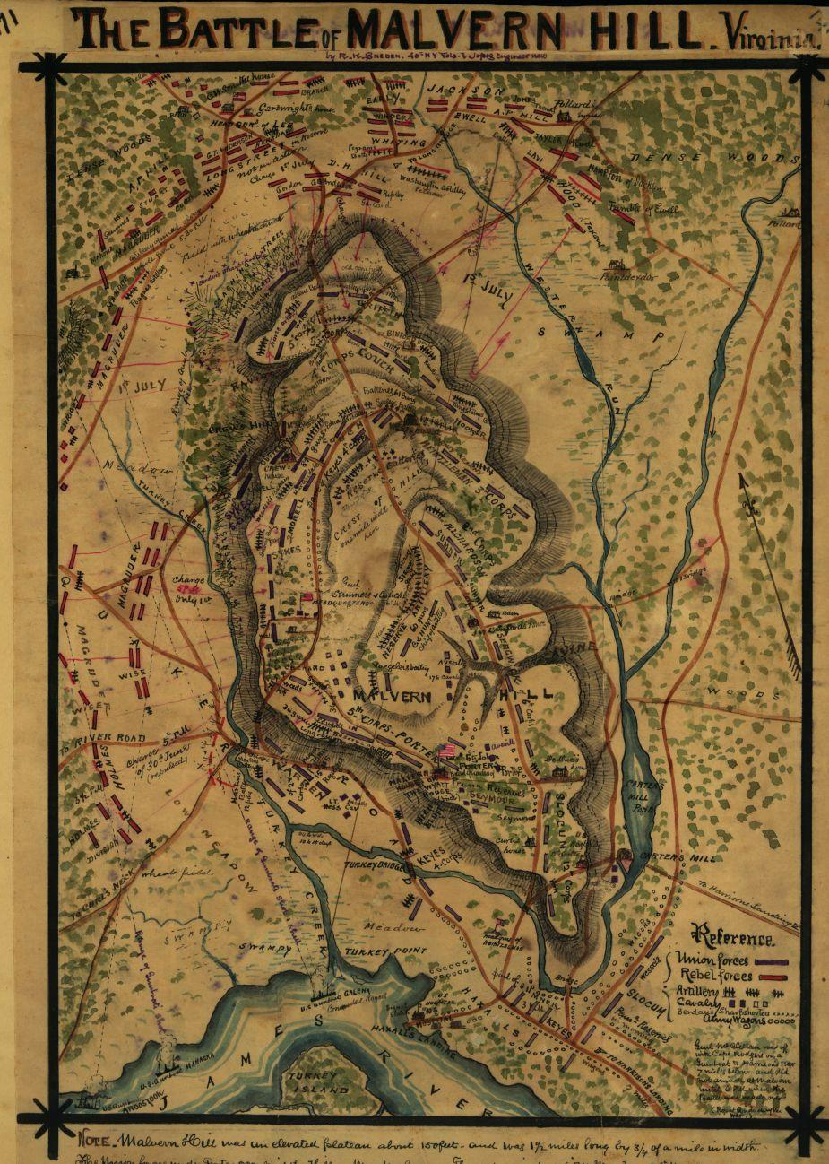 Plan of the battle of Malvern Hill, Virginia. Fought June 30th and July 1st, 1862.