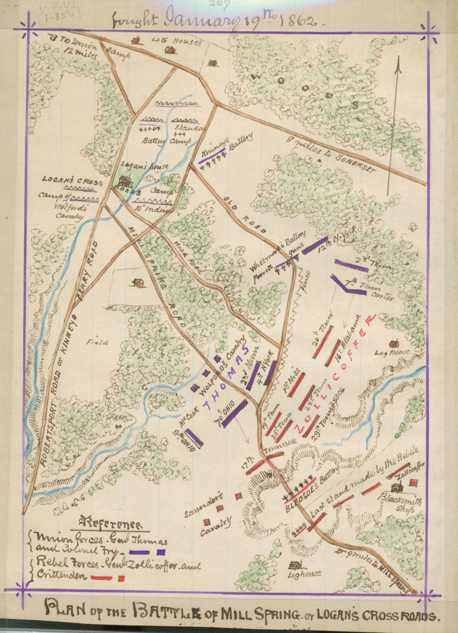 Plan of the battle of Mill Spring or Logan's Cross Roads