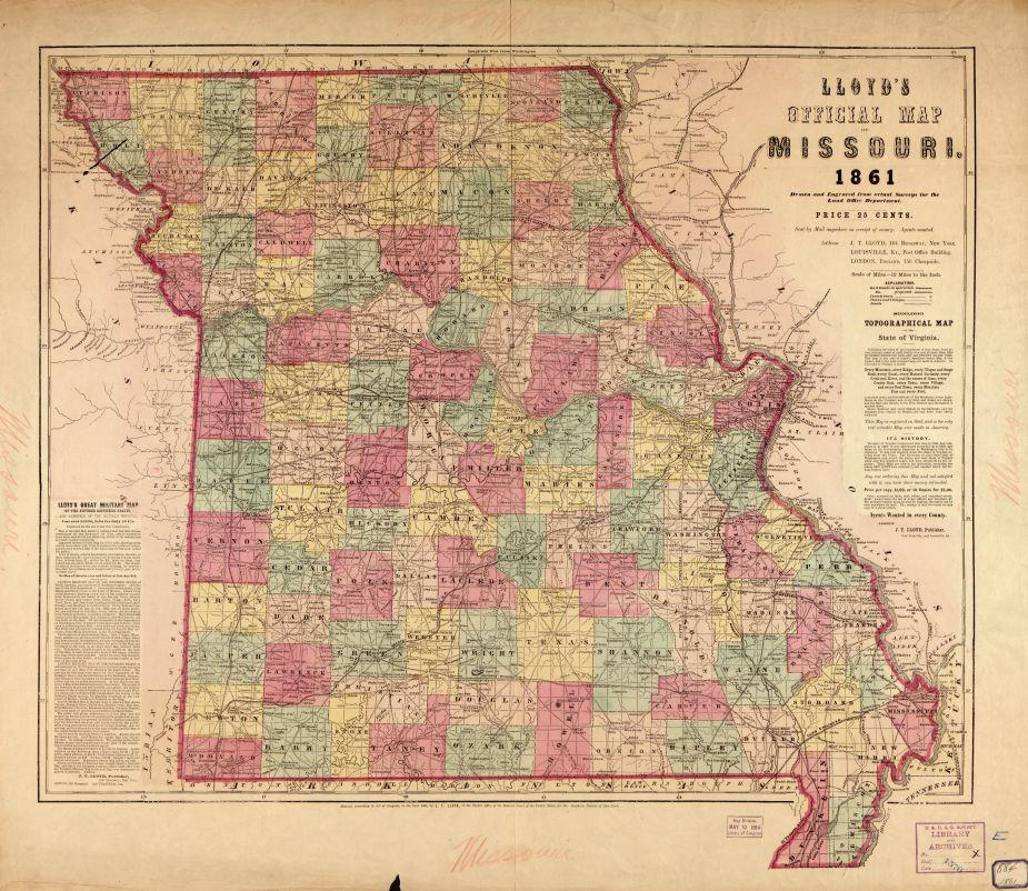 Lloyd's official map of Missouri Drawn and engraved from actual surveys for the Land Office Department