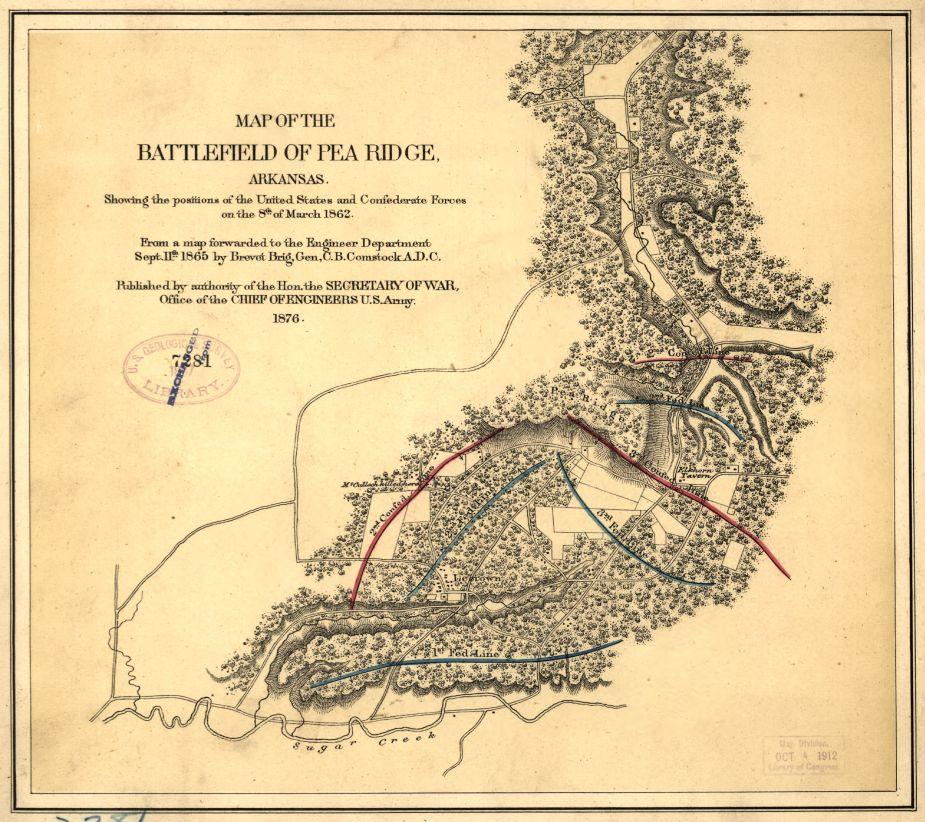 Pea Ridge Map Of The Battlefield Civil War Trust - United states map arkansas