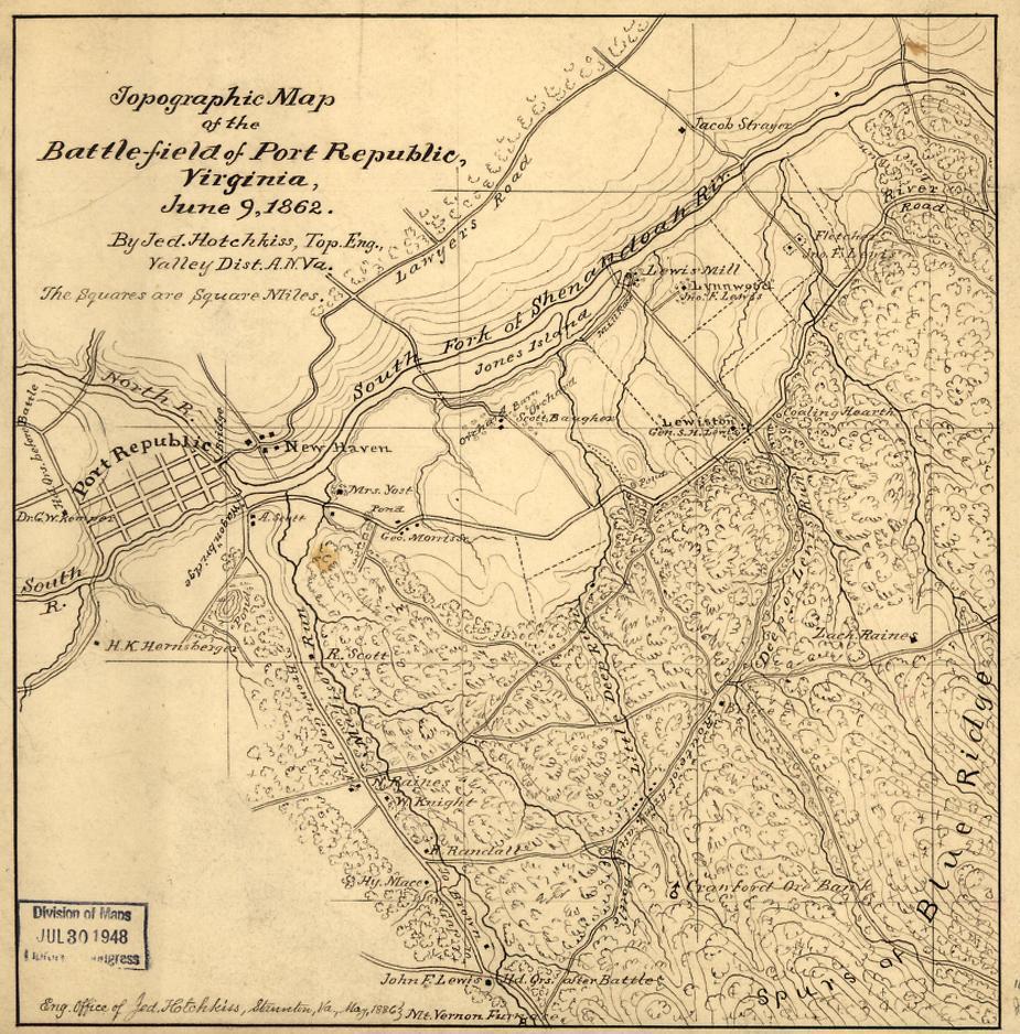 Topographic Map of the Battlefield of Port Republic, Virginia