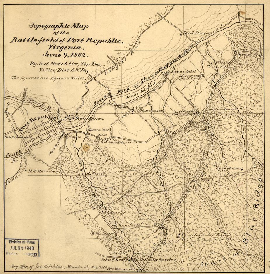 Topographic Map of the Battlefield of Port Republic, Virginia