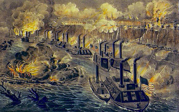 Porter's Fleet Running the Vicksburg Blockade (Color)(Wiki)(700px)