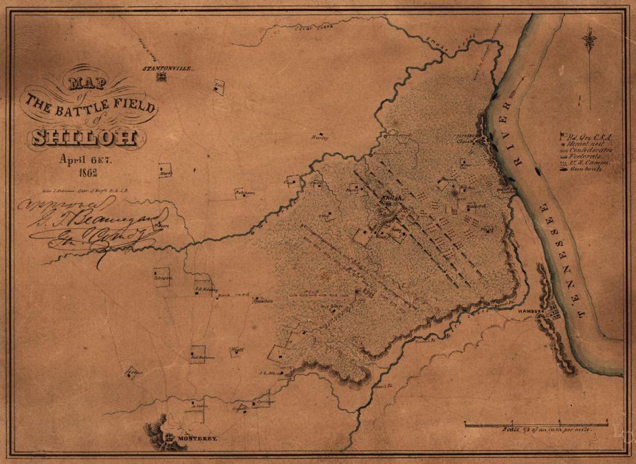 Map of the battlefield of Shiloh, April 6 & 7, 1862