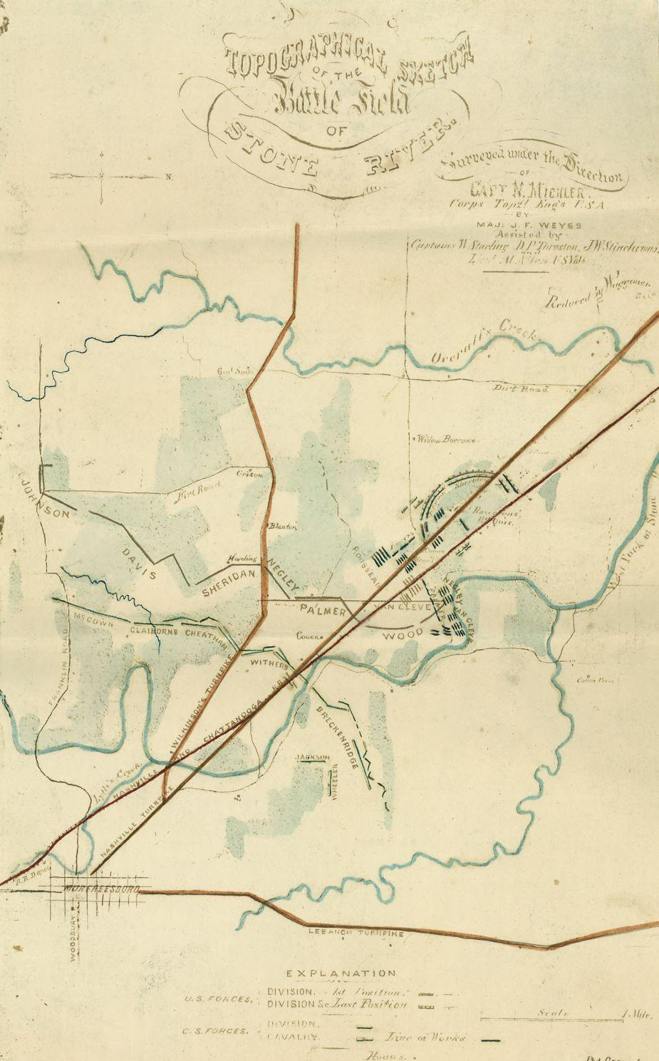 Topographical sketch of the Battlefield of Stone River