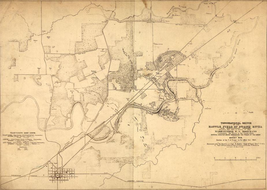 Topographical sketch of the battlefield of Stone River near Murfreesboro, Tennessee, December 30th 1862 to January 3d 1863