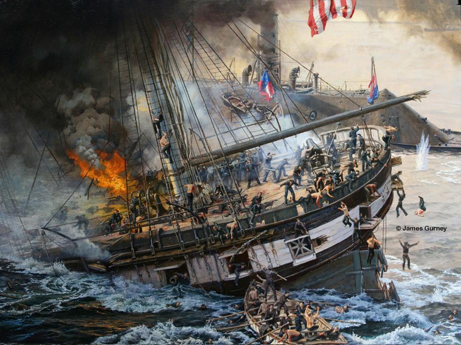 CIVIL WAR BATTLE BETWEEN THE MONITOR AND MERRIMAC SHIPS HAMPTON ROADS NAUTICAL