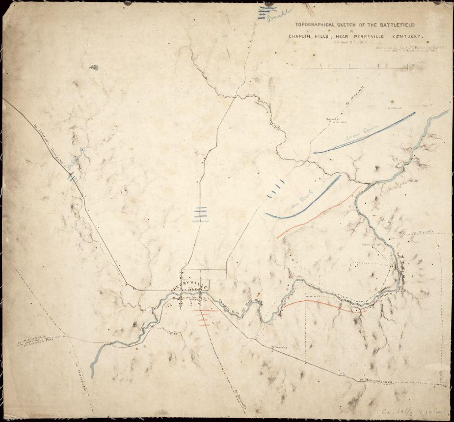 Topographical sketch of the battlefield of Chaplin hills, near Perryville