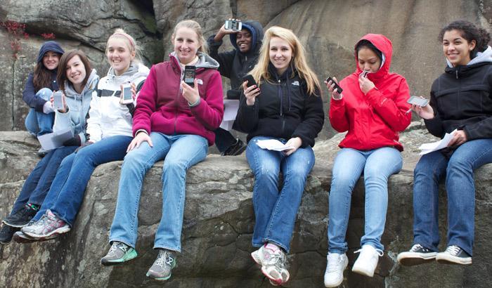 WSHS Students using our Battle App at Devil's Den