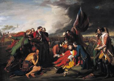 A painting of the death of General Wolfe