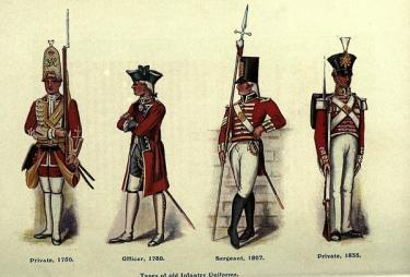 Types of old infantry uniforms of the British army, published 1916.