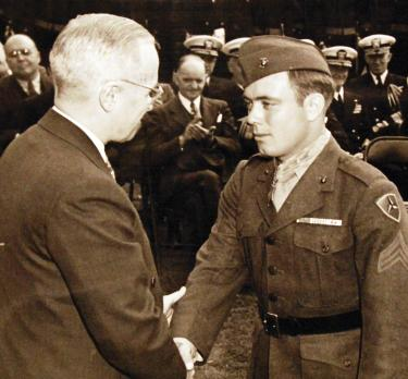 Hershel Williams receiving MOH from Truman