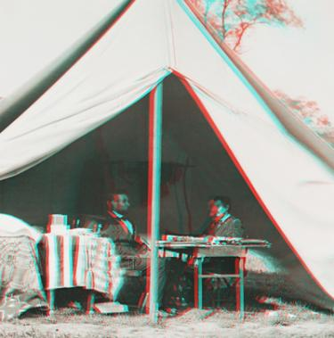 Abraham Lincoln with Gen. George McClellan at Antietam in 3-D